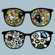 Retro sunglasses with cats and birds reflection in it. — Stock Vector