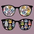 Royalty-Free Stock Vector Image: Retro sunglasses with ugly dolls reflection in it.
