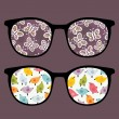 Vector de stock : Retro sunglasses with butterflies and birds reflection in it.