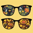 Retro sunglasses with halloween party reflection in it. — Stock Vector