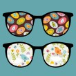 Royalty-Free Stock Vector Image: Retro sunglasses with lovely birds reflection in it.