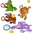 Collection of tennis playing animals — Stock Vector