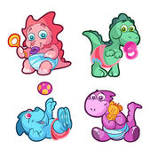 Collection of baby dino — Stock Vector