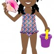 Stock Vector: Afro Girl Swimsuit