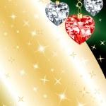 Diamond Ornament Heart Background — Stock Vector
