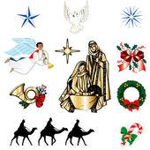 Christian Christmas Icons — Stock Vector