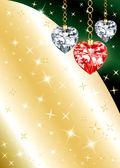 Fondo de corazón diamante ornamento — Vector de stock