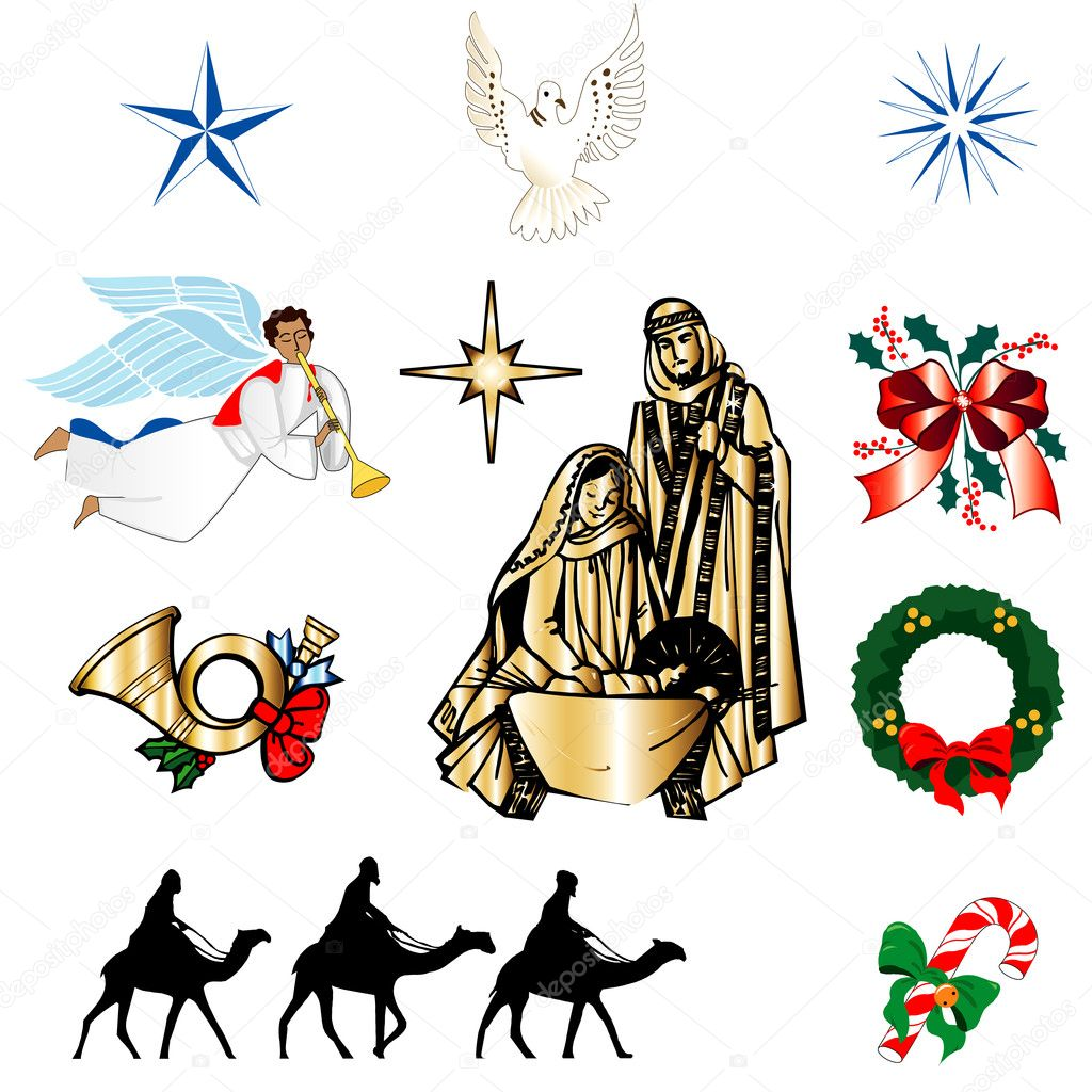 Set of ten Christmas or Holiday Icons. Vector Illustration. — Stock Vector #8135202