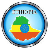 Ethiopia Round Button — Stock Vector