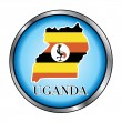 Uganda Round Button — Stock Vector