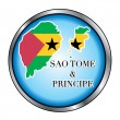 Sao Tome and Principe Round Button — Stock Vector