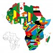 Africa Continent Flag Map — Stock Vector