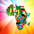 African Continent Flag Map — Stock Vector