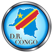 DR Congo Rep Round Button — Stock Vector