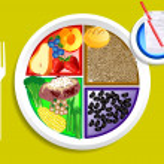 Vegan Dinner Food My Plate — Stock Vector