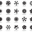 Black silhouettes of disk-shaped icons - Stock Vector