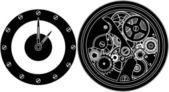 Silhouette clockwork — Stock Vector