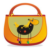 "Children's Hand bag with sewn applique ""horse"" — Stock Vector"