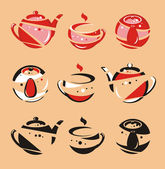 The stylised teapot and a mug — Stock Vector