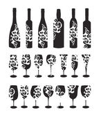 Wine set. Six wine bottles and glasses for wine. — Stock Vector
