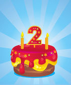 Birthday iced cake — Vector de stock