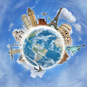 Travel the world clouds plane concept — Stock Photo