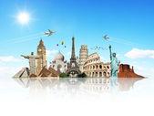 旅行世界云飞机概念 — 图库照片