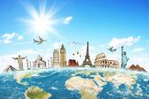 El concepto de avión de nubes mundial de viajes — Foto de Stock