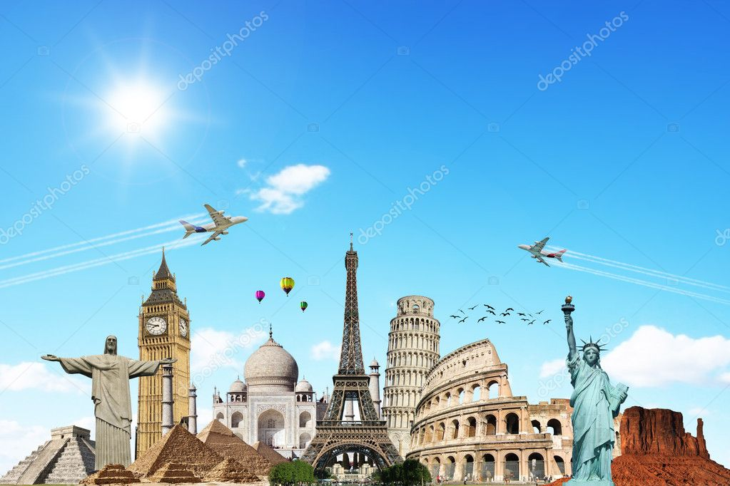 Travel the world clouds plane concept made with photoshop cs5 — Stock Photo #10337056