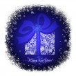 Royalty-Free Stock Photo: Christmas gift box on a blue background with white snowflakes