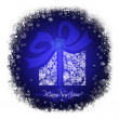 Christmas gift box on a blue background with white snowflakes - Stock Photo