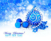 Blue balls and silver christmas decoration baubles with space fo — Stock Photo