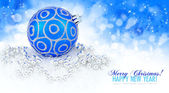 Blue ball and silver christmas decoration baubles with space for — Stock Photo