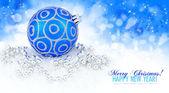 蓝色的球和银色圣诞装饰的小玩意的空间 — 图库照片