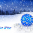 Blue and silver christmas decoration baubles on a background a w — Stock Photo