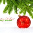 Christmas red ball and pine — Stock Photo