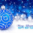 Christmas blue ball on a festive background — Stock Photo