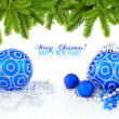 Blue and silver christmas decoration baubles and pine on white — Stock Photo