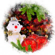 Snow man with red glass Christmas balls and by the branches of p — Стоковая фотография