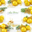Royalty-Free Stock Photo: Frame with christmas compositions is with gold balls and space f