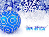 Blue ball and snowflake winter snow background with space for te — Stock Photo