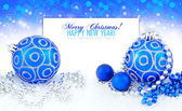 Blue and silver christmas decoration baubles with space for text — Stok fotoğraf