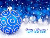 Bola de navidad azul sobre un fondo festivo — Foto de Stock