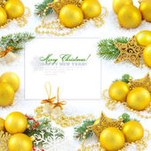 Frame with christmas compositions is with gold balls and space f — Stock Photo