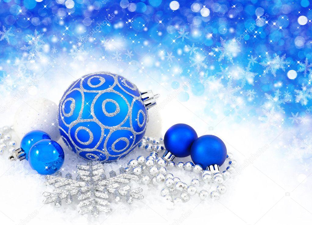 Bolas azules y plata adornos de decoraci n de navidad con - Bola de navidad con foto ...