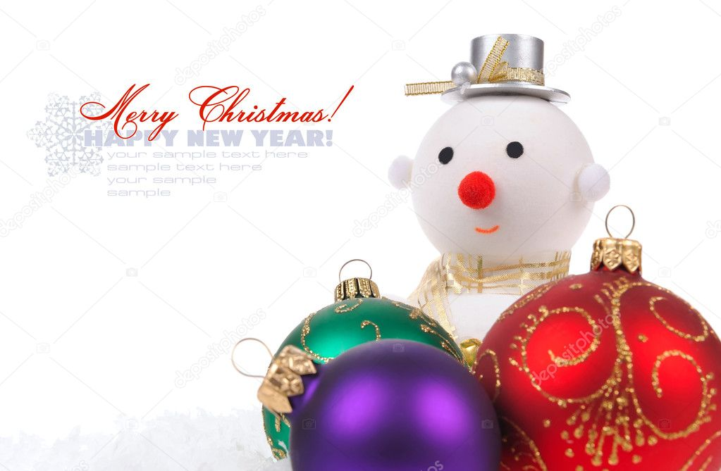 Snow man with color glass Christmas balls on white background with space for text — Stock Photo #8177834
