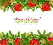 Rode kerstballen en pijnbomen op wit met ruimte voor tekst — Stockfoto
