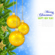 Stock Photo: Gold christmas decoration baubles and pine on blue background wi
