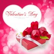 Little red gift with roses on background white heart — Stock Photo #8474140