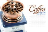 Detail mlýnek staromódní kávu s prostorem pro text — Stockfoto